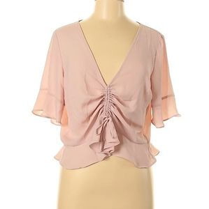 Express Pink Cinched Flutter Sleeve Tee XS